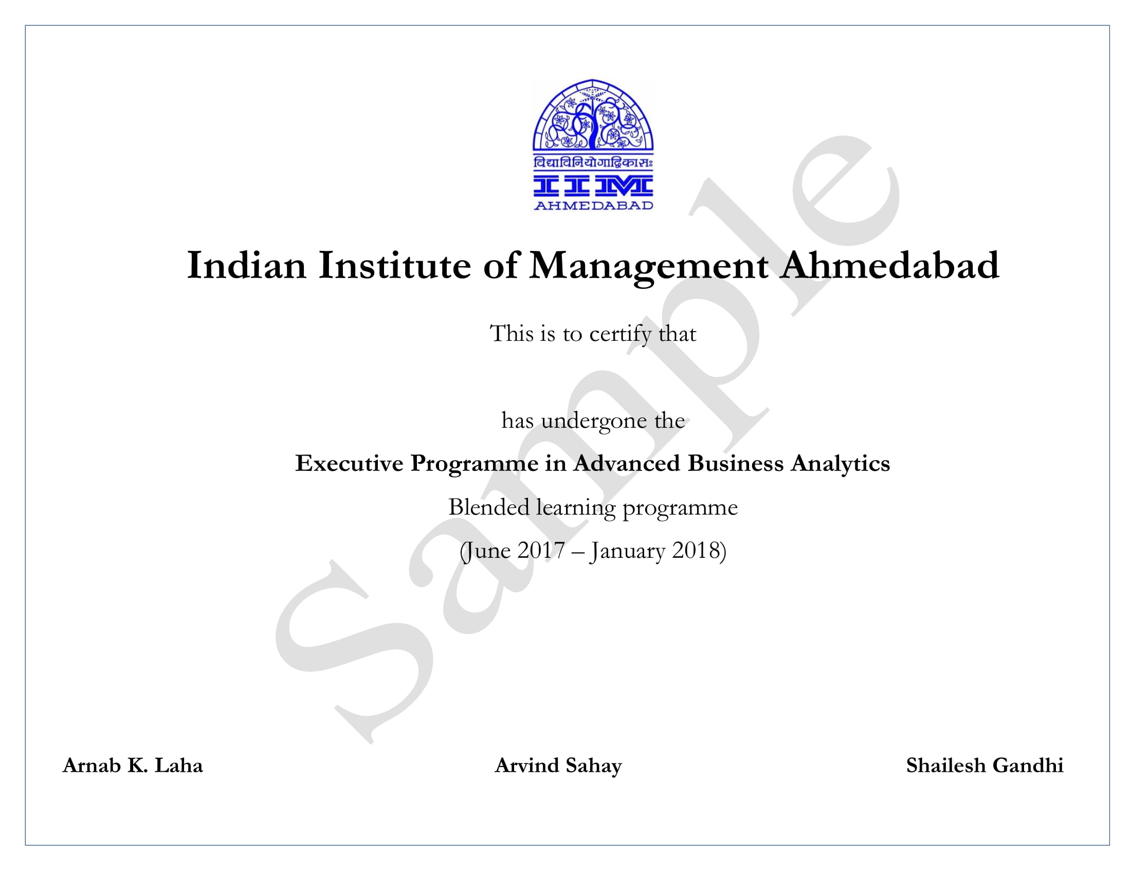 Executive Programme in Advanced Business Analytics from IIM